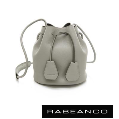 RABEANCO 真皮經典亮感束口水桶包 淺灰
