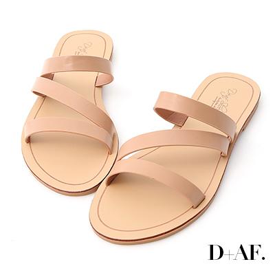 D+AF 自在氣息.三條帶平底涼拖鞋*粉