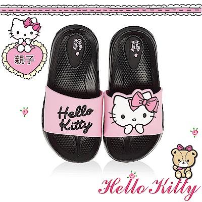 HelloKitty 少女系列 親子鞋不對稱輕量室內外拖鞋童鞋-黑