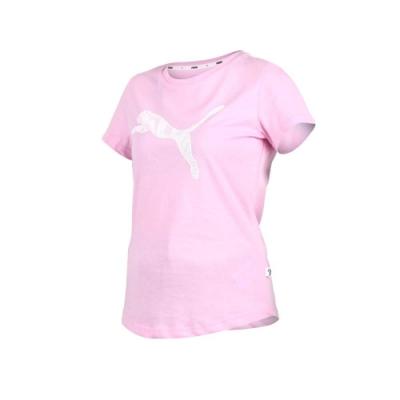 PUMA 女基本系列KA短袖T恤-短T 短袖上衣 慢跑 路跑 粉紅白