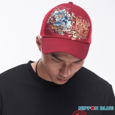 日本藍 BLUE WAY -精繡火牡丹網帽(紅)