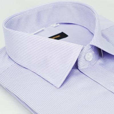 金‧安德森 紫色條紋窄版短袖襯衫fast
