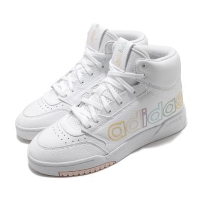 adidas 休閒鞋 Drop Step XL 中筒 女鞋 愛迪達 三葉草 皮革鞋面 大LOGO 白 粉 FV4878