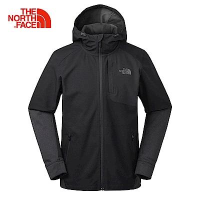 The North Face北面男款黑色舒適抓絨軟殼外套 3RG1JK3
