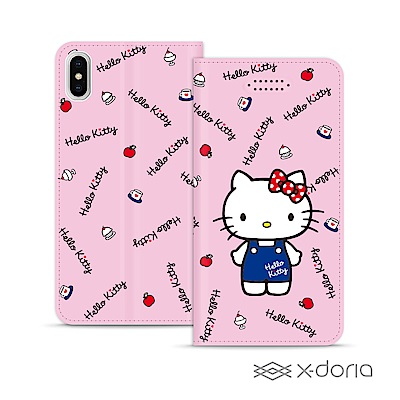 Hello Kitty iPhone X/Xs 戀愛系列彩繪可站立皮套 - 點心款