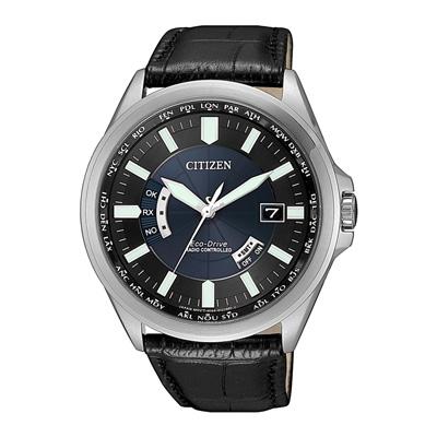 CITIZEN光動能時光續航電波計時皮革腕錶(CB0180-11L)-42mm