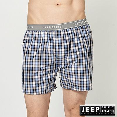 JEEP 五片式剪裁 純棉平口褲-藍色小格紋