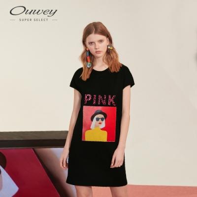 OUWEY歐薇 粉紅女孩印花連身洋裝(黑)