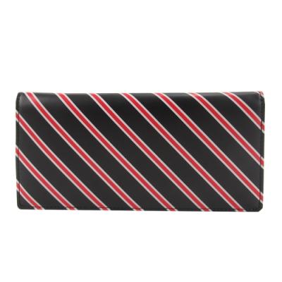 agnes b.斜紋兩折男長夾(黑底紅線)