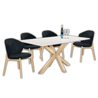 Boden-西媞5.3尺白色餐桌椅組合(一桌四椅)-160x90x75cm