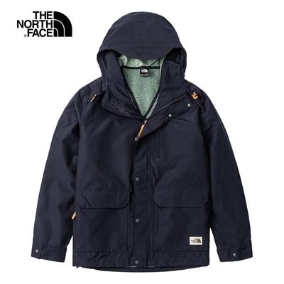 The North Face北面男款深藍色防水透氣三合一連帽外套|5AZQRG1