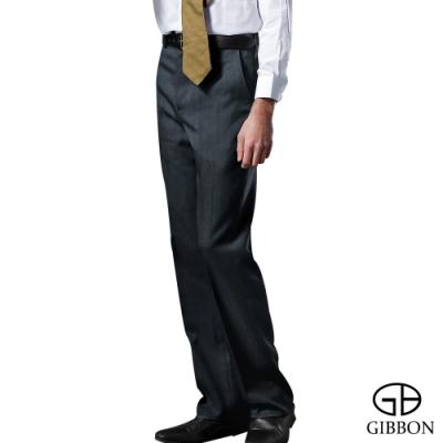 GIBBON 雨絲紋雅致平口西裝褲‧深灰藍