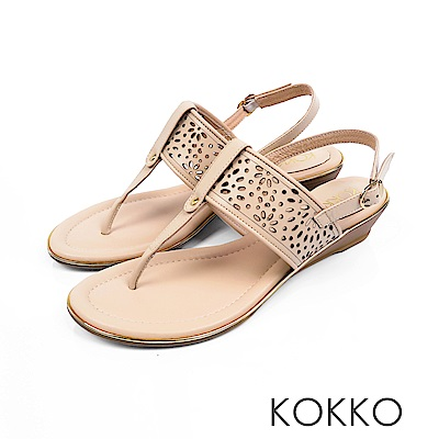 KOKKO - 優雅漫步牛皮夾腳坡跟涼鞋 - 王妃裸