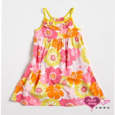 【天使霓裳-童裝】歡樂午茶 可愛無袖細肩帶小洋裝(黃)