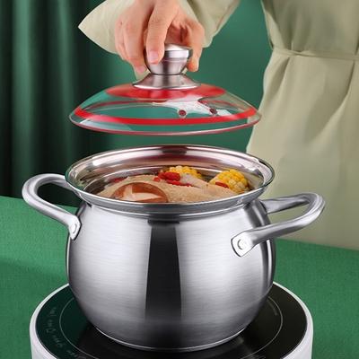 PUSH!廚房用品 304不銹鋼加厚大容量煮湯鍋電磁爐通用雙耳湯鍋D263