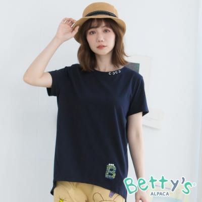 betty's貝蒂思 圓領釘飾字母縫珠T-shirt(深藍)