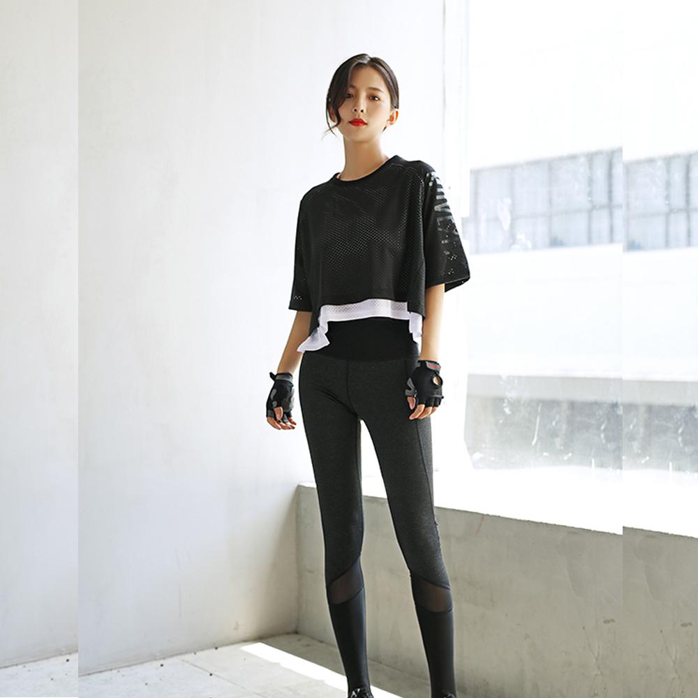 庫克鏤空雙層罩衫短袖運動上衣(單罩衫)   狐狸姬