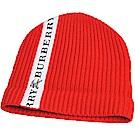 BURBERRY 品牌 LOGO圖騰飾帶羊毛翻折套頭帽(紅色)