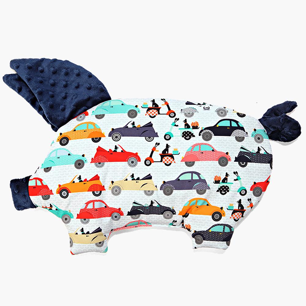 La Millou 豆豆小豬枕嬰兒枕-法鬥噗噗車(勇氣海軍藍)