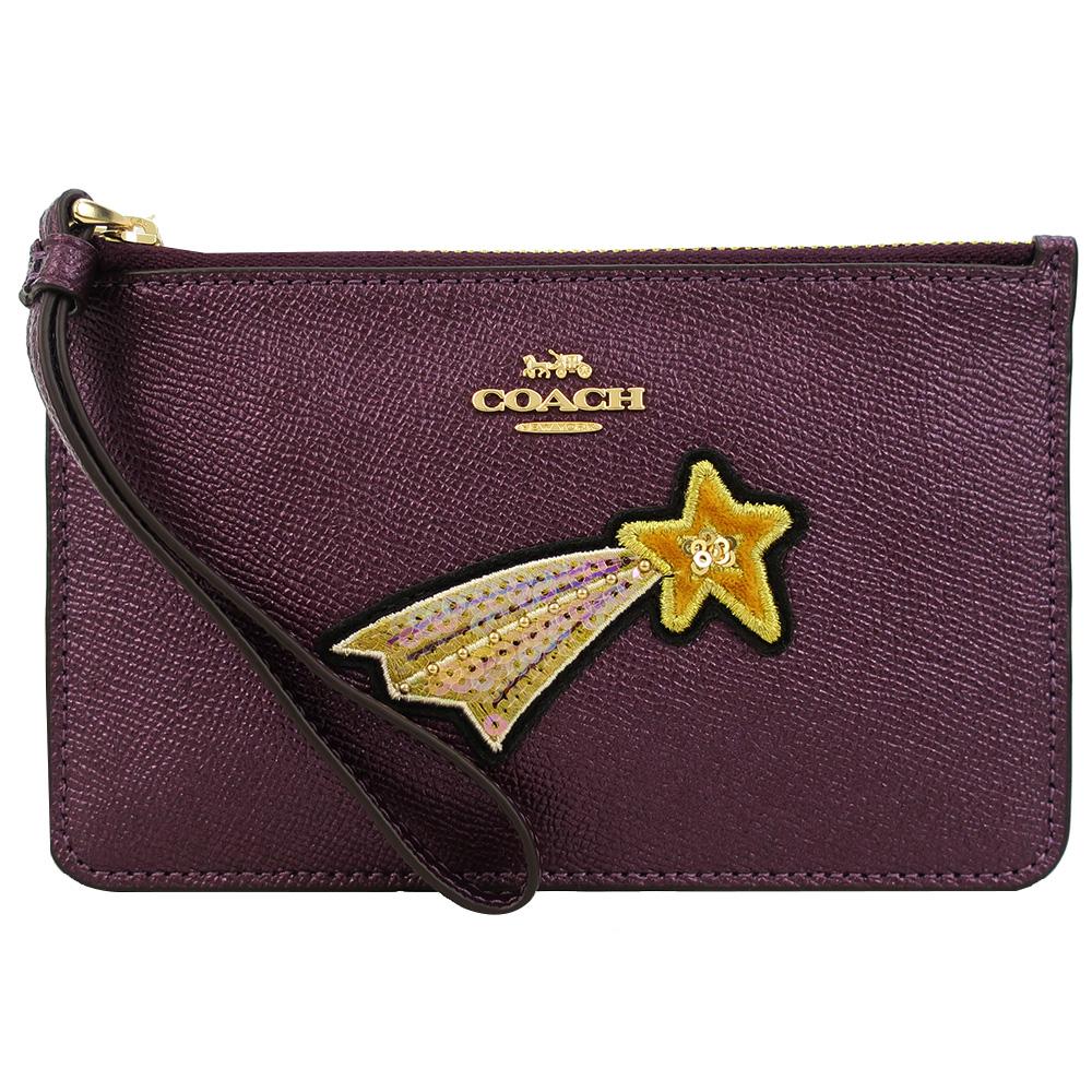 COACH 馬車星星刺繡亮片防刮皮革手拿包(中/覆盆紫)COACH