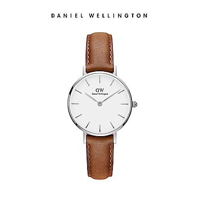 DW 手錶 官方旗艦店 28mm銀框 Classic Petite 淺棕真皮皮革