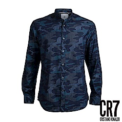 CR7-Slim Fit 深藍迷彩法式立領襯衫(8695-72200-42)