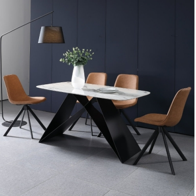 MUNA 喬伊5.3尺石面餐桌椅組(1桌4椅) 160X80X75cm