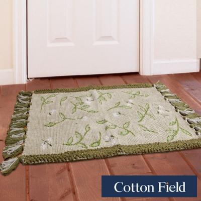 棉花田 艾菲-綠 純棉刺繡編織鬚邊踏墊(45x70cm)