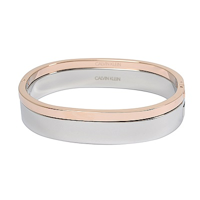 Calvin Klein CK HOOK極簡雙色銀x玫瑰金手環