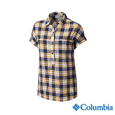 Columbia 哥倫比亞 女款-純棉短袖半開襟襯衫-黃藍格紋UAR25500YH