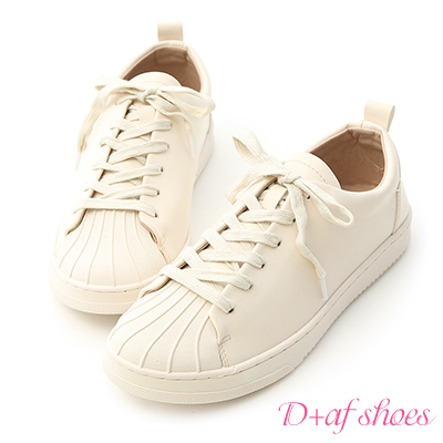 D+AF 休閒舒適.貝殼頭綁帶休閒鞋*米