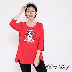 Betty Boop貝蒂 圓領肩釦膠印開衩柔棉上衣(共兩色)