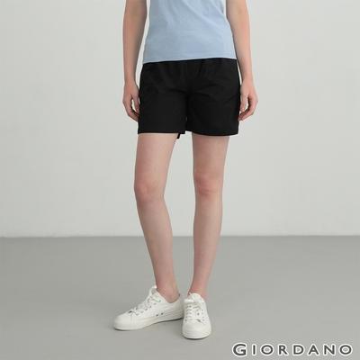 GIORDANO 女裝素色抽繩卡其短褲 - 09 標誌黑