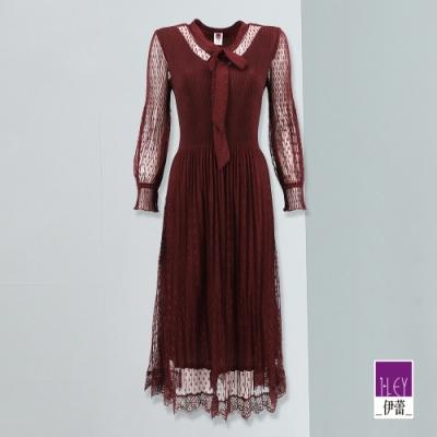 ILEY伊蕾 高質感甜美愛心縷空壓摺網紗洋裝(紅)