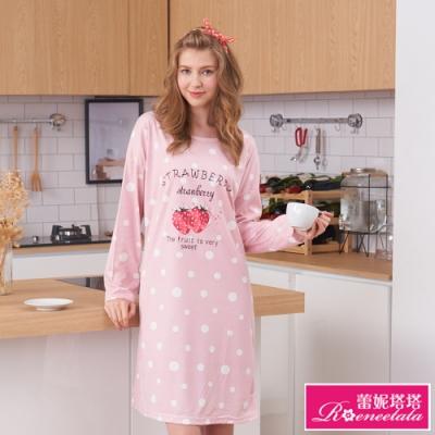 睡衣 甜心草莓 針織長袖連身睡衣(R95215兩色可選) 蕾妮塔塔