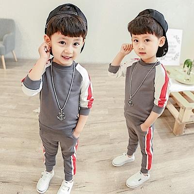 小衣衫童裝   中小兒童紅白拼接長袖長褲灰色套裝1070843