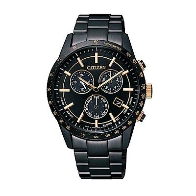 CITIZEN Eco-Drive 三眼計時都會時尚腕錶/ 黑*金/ BL5495-56F