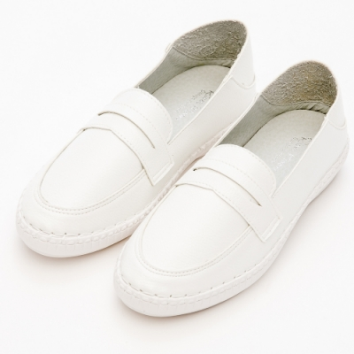 River&Moon文青時尚-超Q軟可後踩懶人便鞋-白