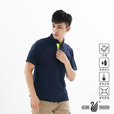 【遊遍天下】MIT男款吸濕排汗抗UV機能POLO衫GS10027丈青綠