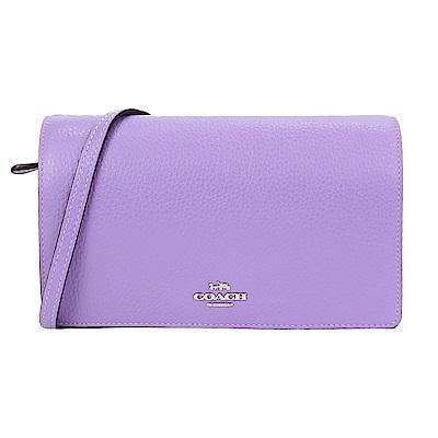 COACH CROSSBODY 荔枝紋皮革翻蓋斜背/手拿包(紫)
