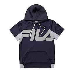 FILA KIDS 童抗UV吸濕排汗附帽上衣-丈青1TET-4304-NV