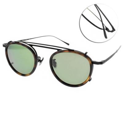 NINE ACCORD 光學眼鏡贈前掛式偏光墨鏡 圓框款 /霧黑 #TI OVERLAP C1