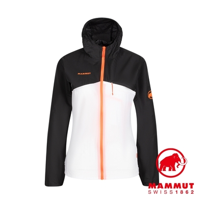 【Mammut 長毛象】Convey WB Hooded Jacket 輕量防潑水連帽風衣外套 黑/白 女款 #1012-00120