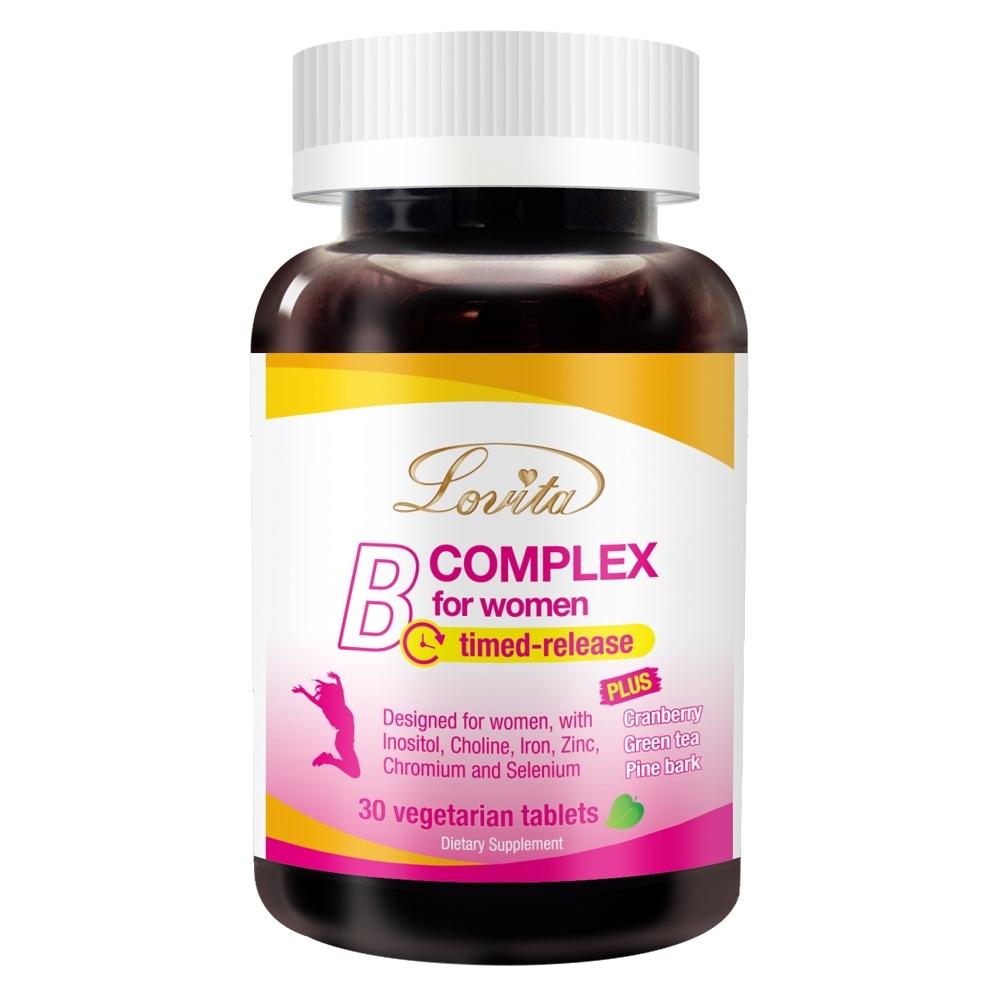 Lovita愛維他 女性長效緩釋型B群 素食30錠 (維他命C B群+鐵 葉酸 蔓越莓 兒茶素 松樹皮)