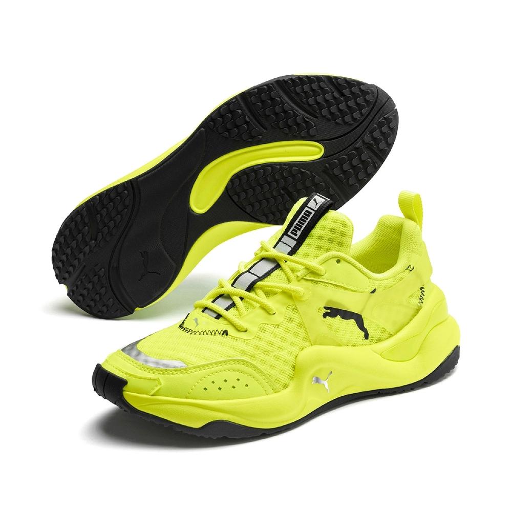 PUMA-Rise Neon Wns 女性復古慢跑運動鞋-鮮亮黃