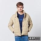 JEEP 型男立領羽絨短版外套-淺卡其