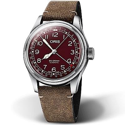 Oris豪利時BIG CROWN摩登飛行手錶-40mm(酒紅)
