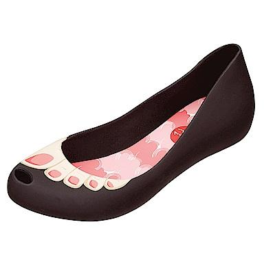 MELISSA 歡樂腳ㄚ魚口鞋-黑