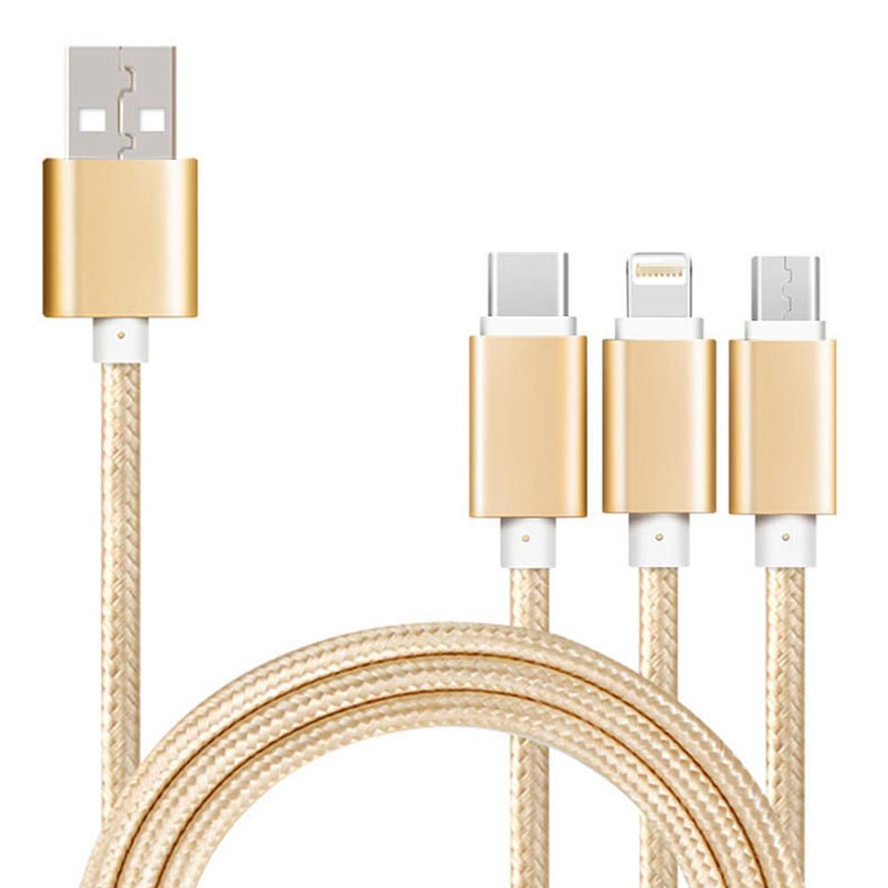 尼龍繩Type-C、Micro USB、lightning 8pin3合1充電線