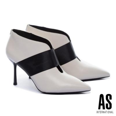 踝靴 AS 極簡魅力羊皮美型尖頭高跟踝靴-白